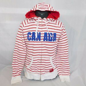 HBC Women L Olympic Canada Striped Full Zip Hoodie